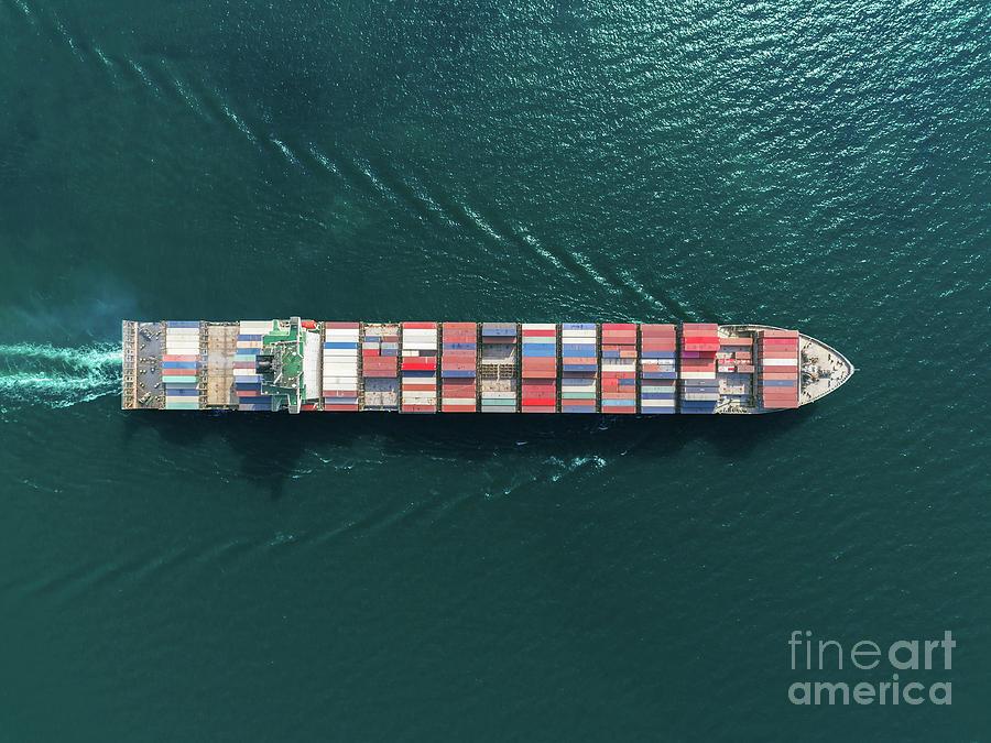 Aerial Top View Container Ship Full Photograph by Suriyapong Thongsawang