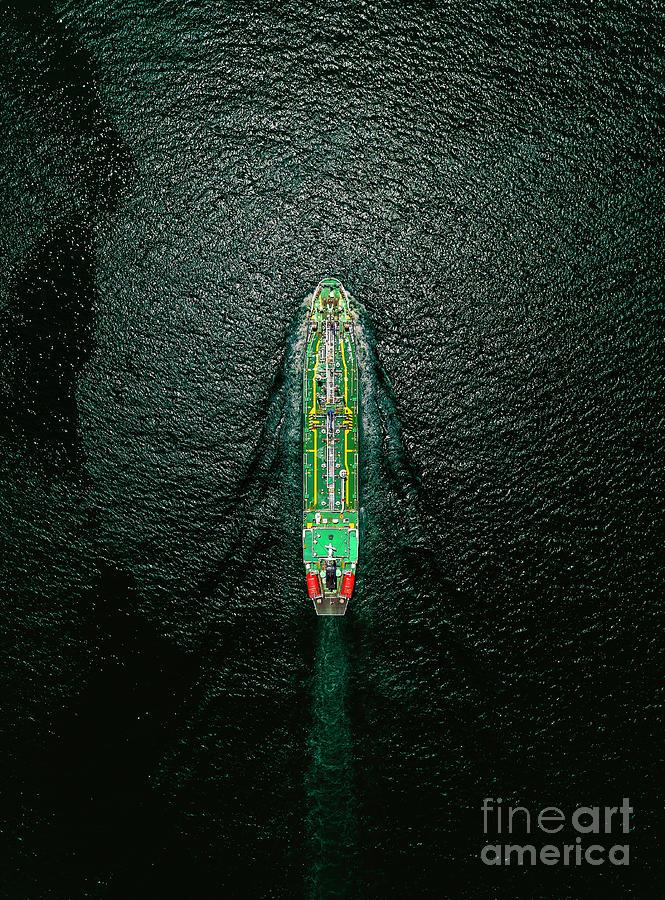 Aerial Top View Oil Ship Tanker Photograph by Suriyapong Thongsawang