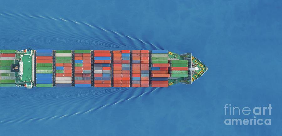 Aerial Top View Panorama Container Ship Photograph by Suriyapong Thongsawang