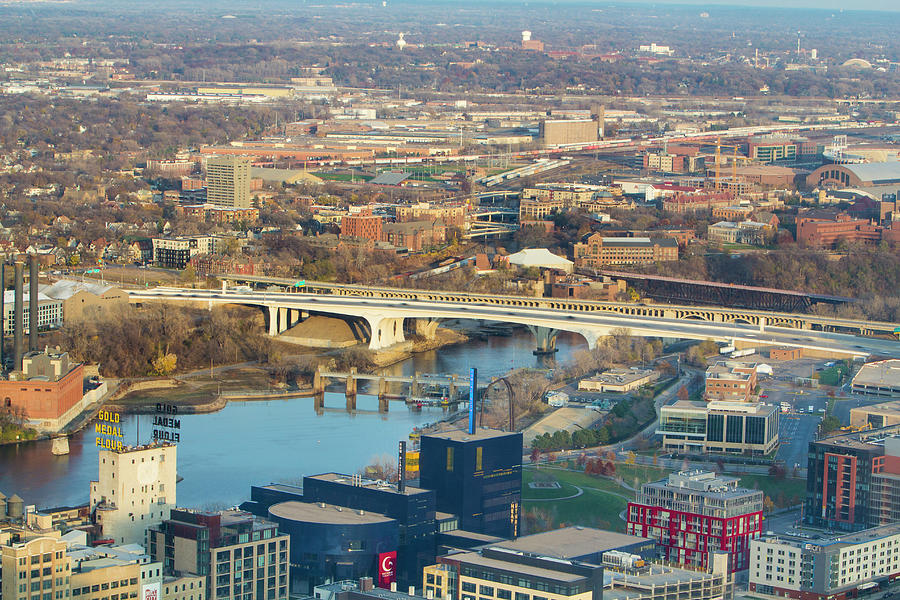 Aerial View - Interstate 35W Bridge - Minneapolis by Patti Deters