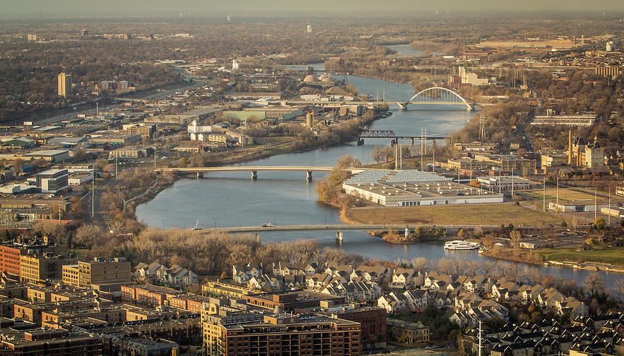 Aerial View - Minneapolis Bridges by Patti Deters
