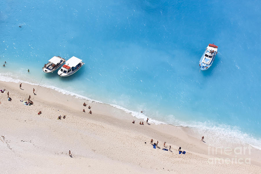 Motorboat Photograph - Aerial View Of A Beach With Some by Creativemarc