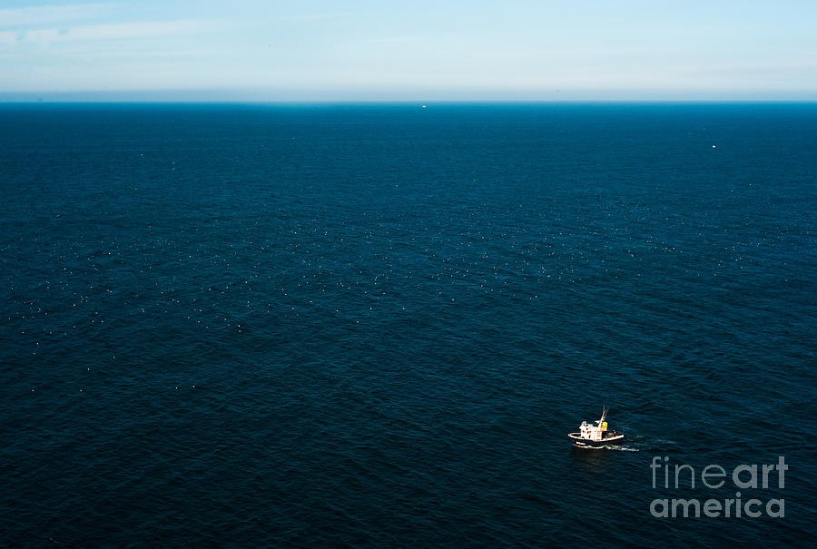 Atmosphere Photograph - Aerial View Of A Lonely Boat In The by Alberto Pérez Veiga
