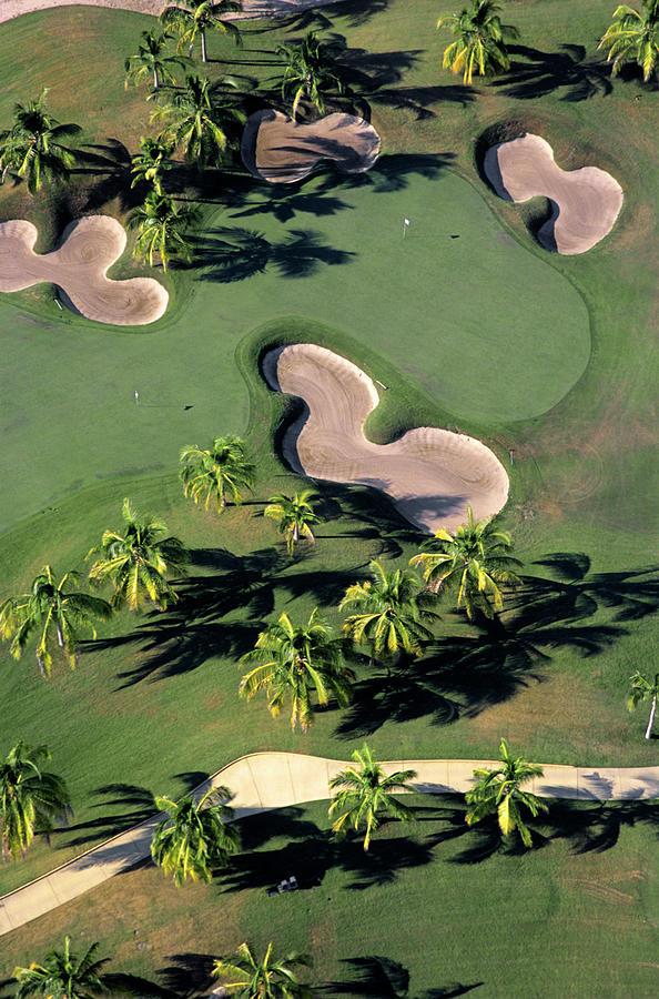 Aerial View Of Back-to-back Greens On Photograph by Mark D Callanan