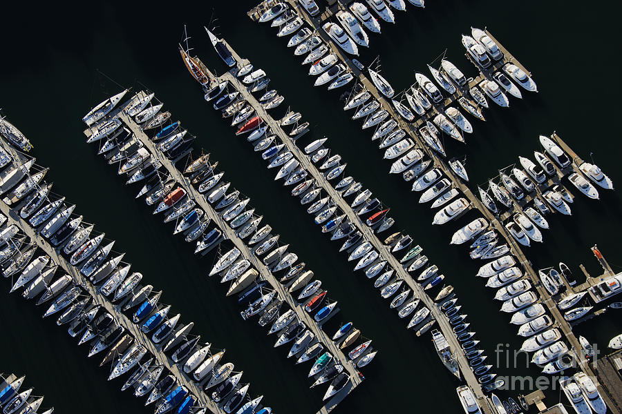 Harbour Photograph - Aerial View Of Boats Lined Up On The by Iofoto