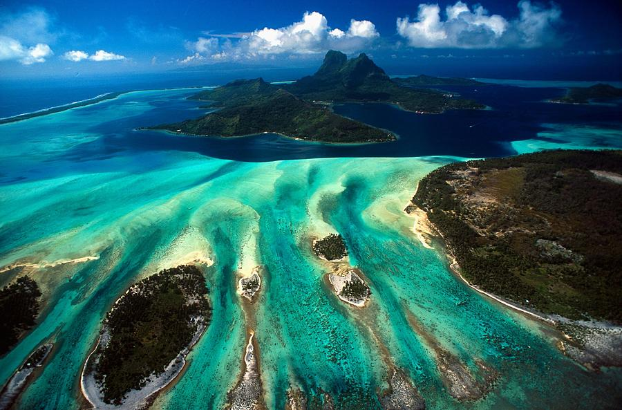 Aerial View Of Bora Bora Photograph by Michel Renaudeau