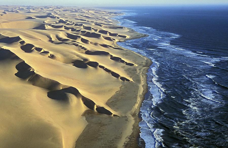 Aerial View Of Coastal Dunes, Namib Photograph by Martin Harvey