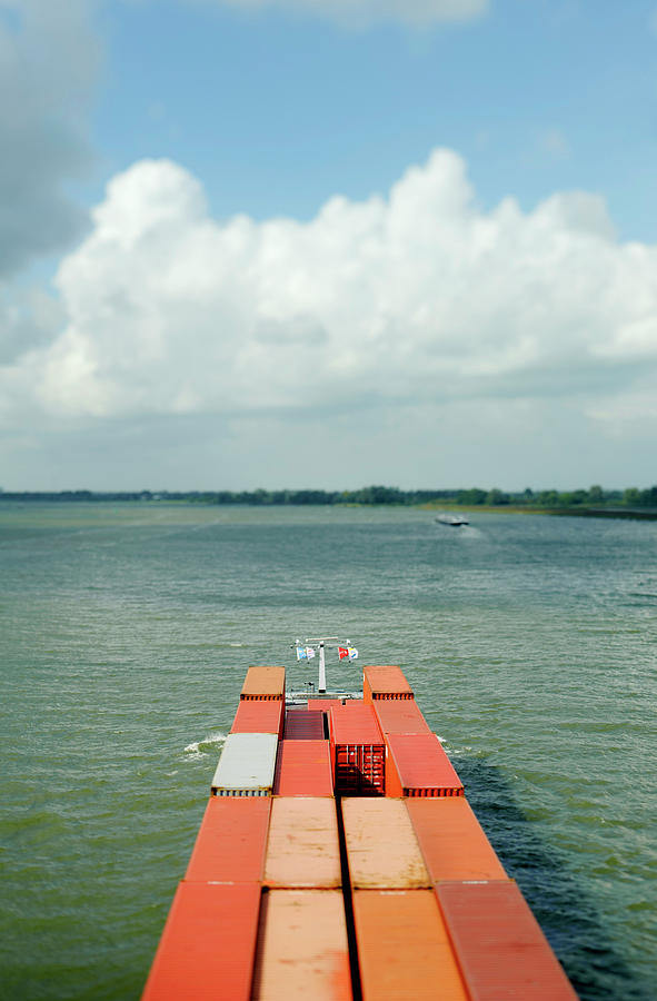 Aerial View Of Containers On Barge Photograph by Mischa Keijser