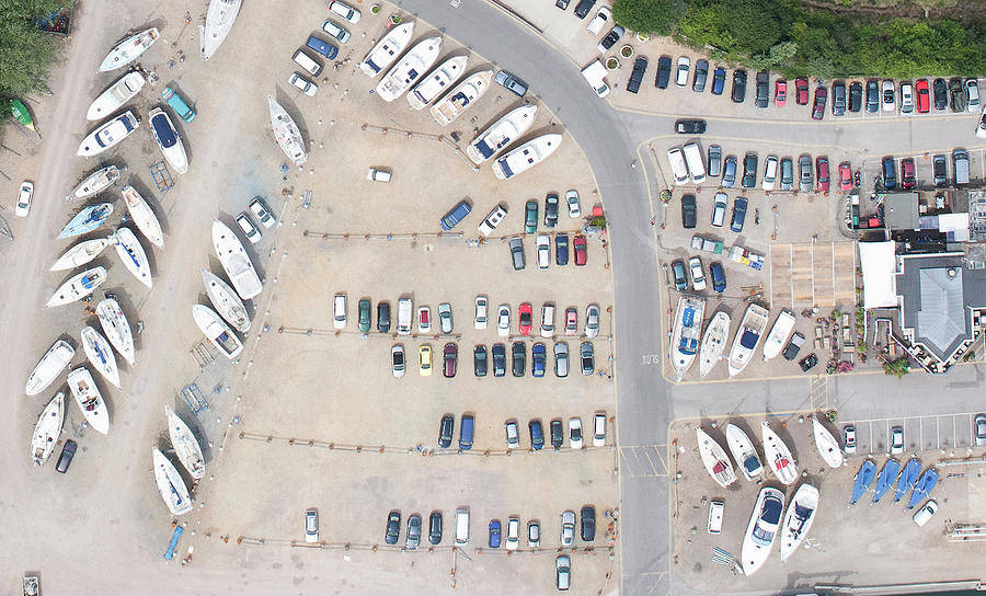Aerial View Of Dock And Parking Lot Photograph by Floresco Productions