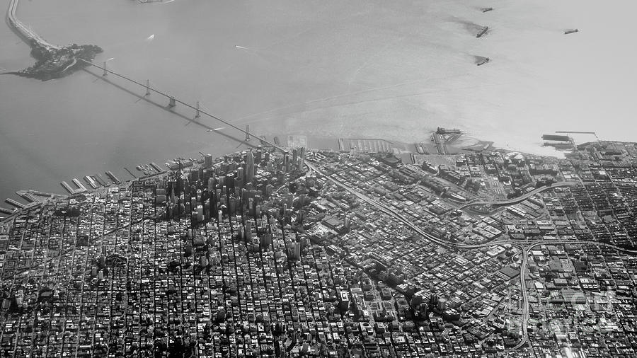 Bridge Photograph - Aerial View Of Downtown San Francisco From The Air by PorqueNo Studios