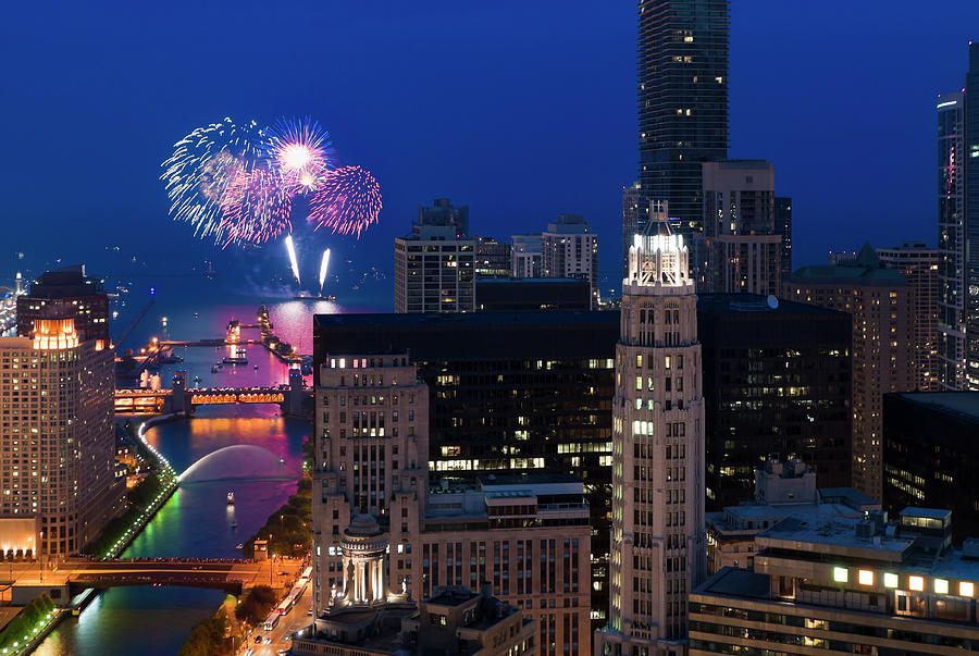 Aerial View Of Fireworks Over Chicago Photograph by Chrisp0