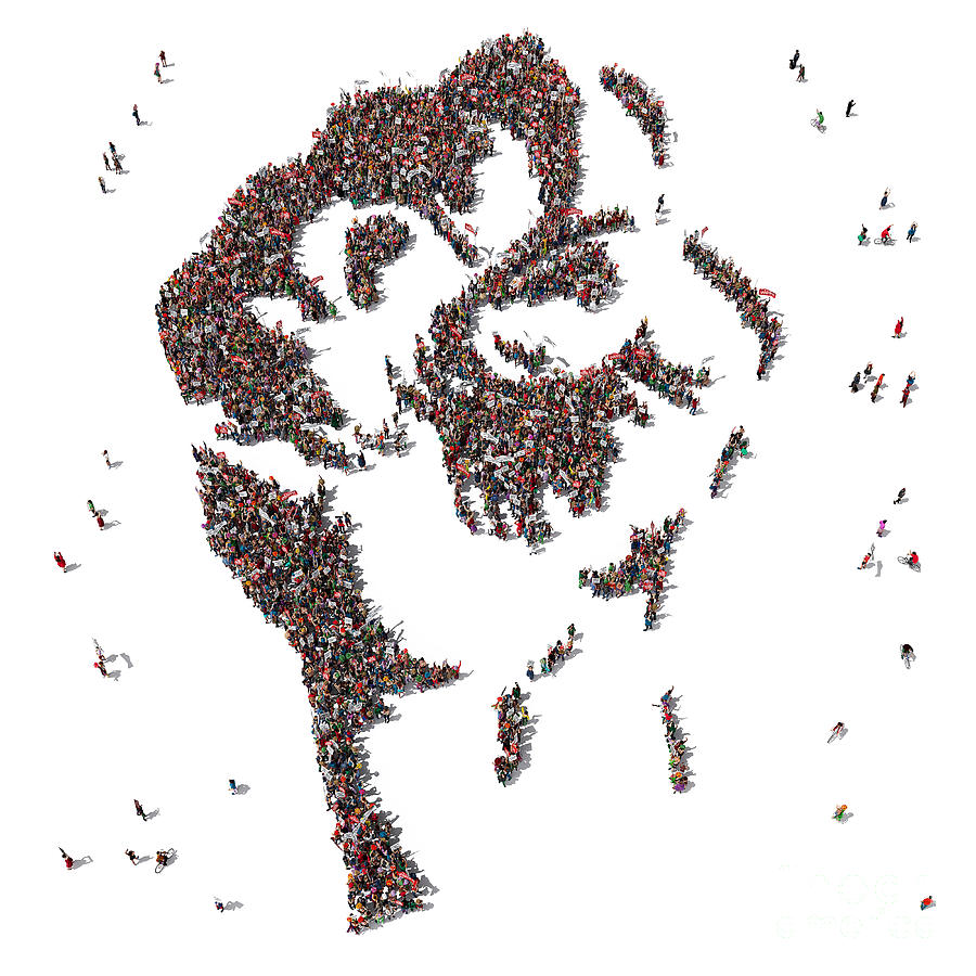 Symbol Digital Art - Aerial View Of Fist Symbol Drawn Out Of by Arthimedes