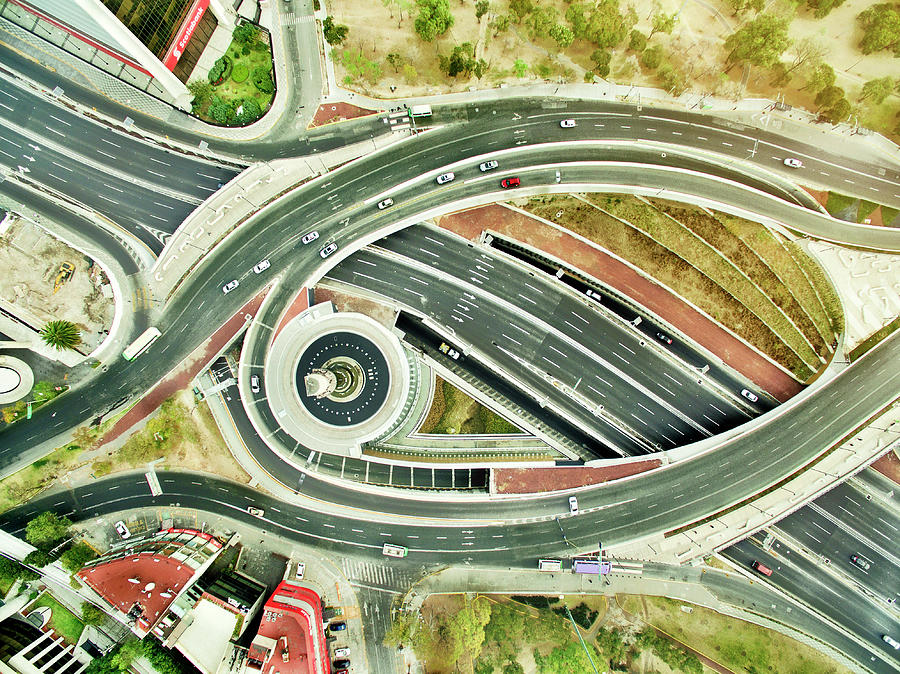 Aerial View Of Freeways In Mexico Photograph by Orbon Alija