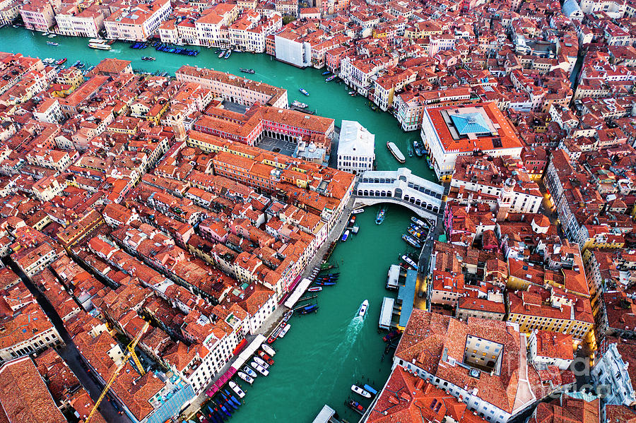 Venice Photograph - Aerial View Of Grand Canal And Rialto Bridge, Venice, Italy by Matteo Colombo