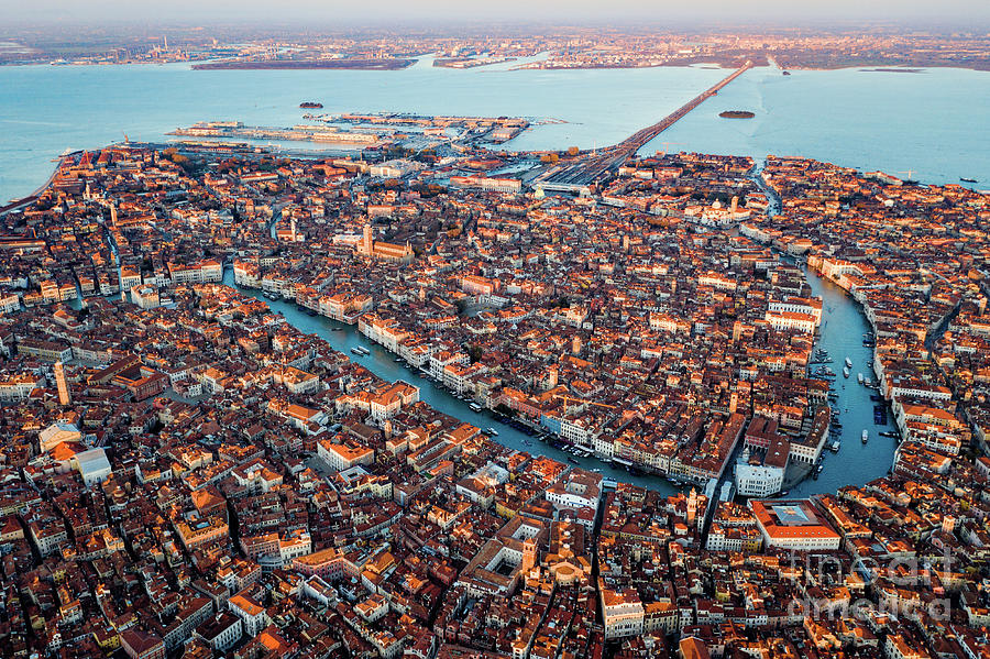 Grand Canal Photograph - Aerial View Of Grand Canal, Venice, Italy by Matteo Colombo