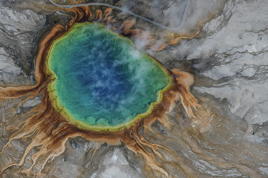 Aerial view of Grand prismatic spring in yellowstone, USA by Suranga Weeratunga