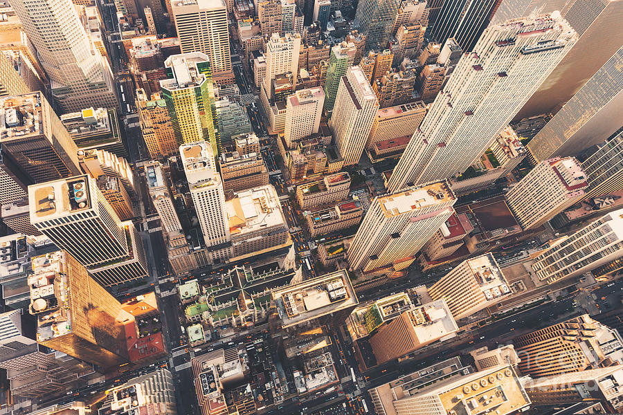 Usa Photograph - Aerial View Of Midtown Manhattan At by Tierneymj