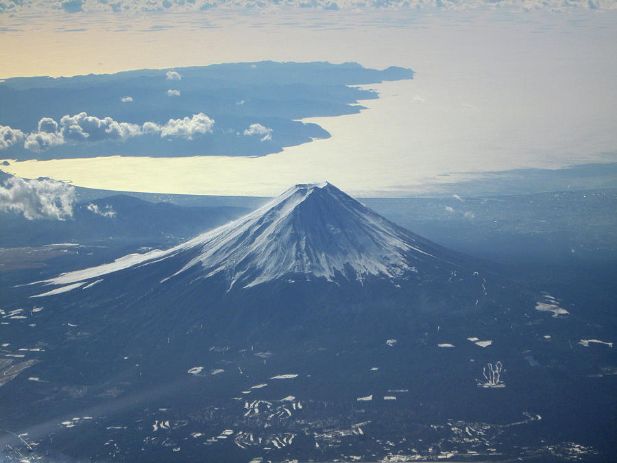 Aerial View Of Mount Fuji Powdered With By Photography By Zhangxun