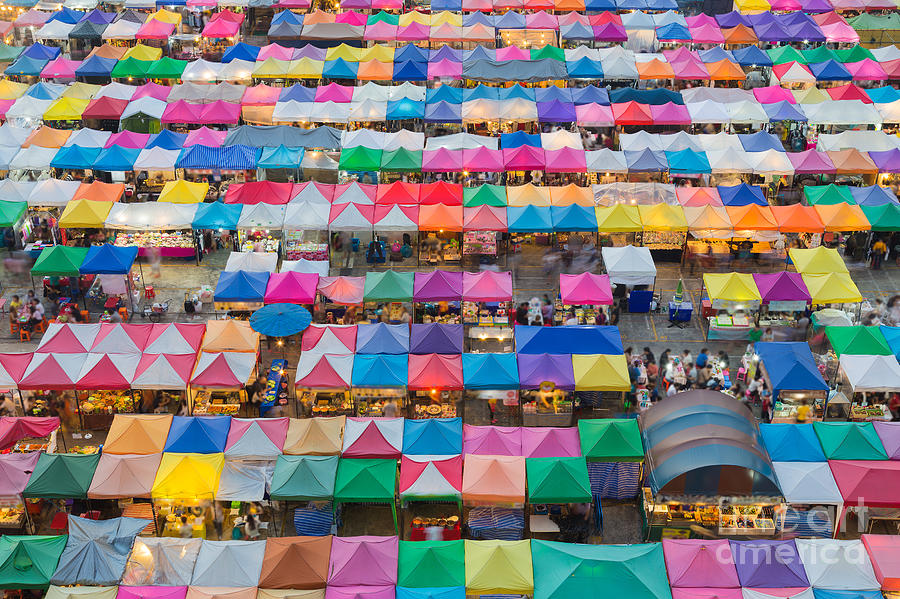 Crowd Photograph - Aerial View Of Multiple Color Roof To by Theoldhiro