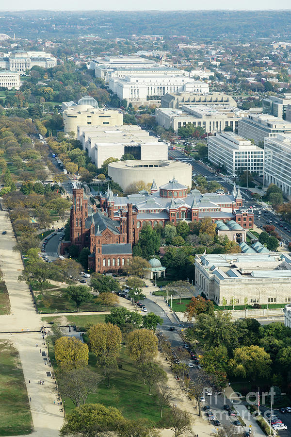 American Indian Photograph - Aerial View Of Museums On The South Side Of The National Mall In by William Kuta