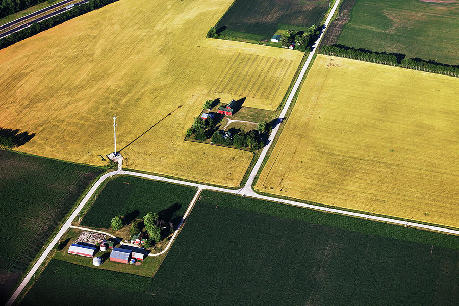 Aerial View Of Northern Illinois Farms Photograph by Stevegeer