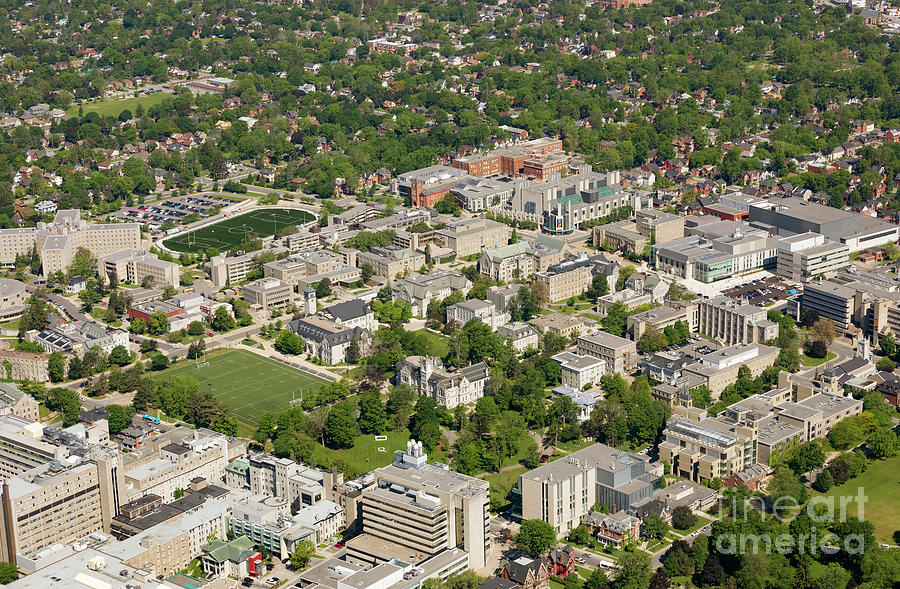 Aerial view of Queens University at Kingston Ontario by Louise Heusinkveld