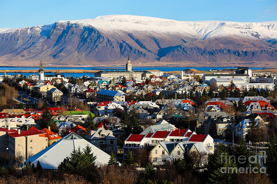 Icelandic Photograph - Aerial View Of Reykjavik, Iceland With by Philip Ho