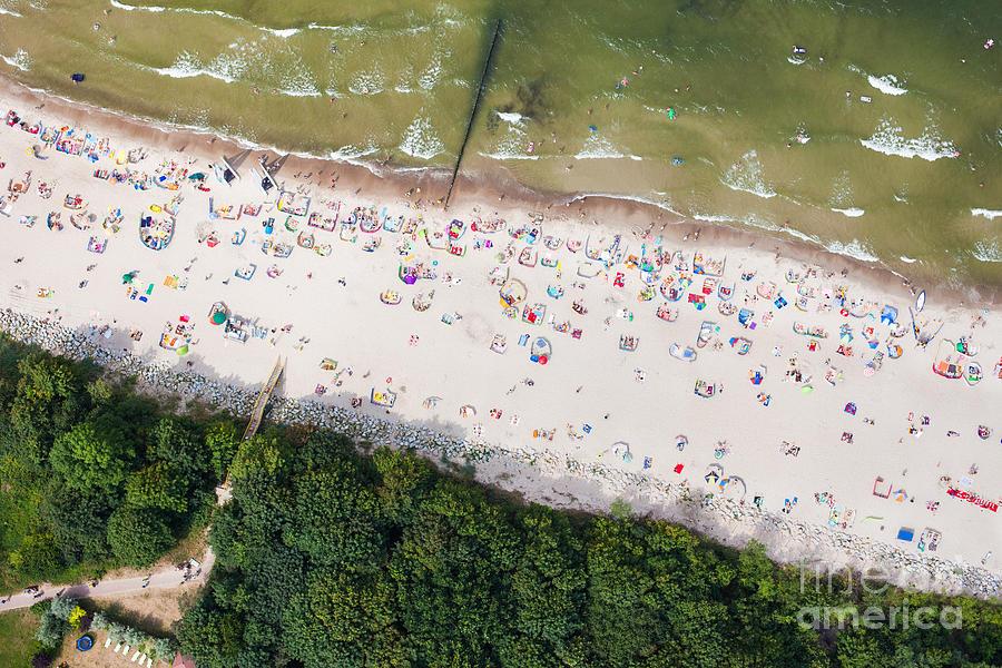 Cliff Photograph - Aerial View Of Sandy Polish Beach On by Mariusz Szczygiel