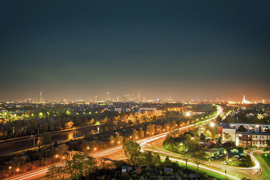 Aerial View Of Streetlights In City Photograph by Manuel Sulzer