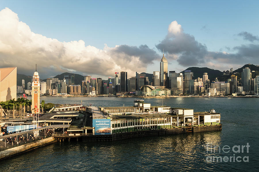 Aerial view of the Star Ferry terminal in Hong Kong by Didier Marti