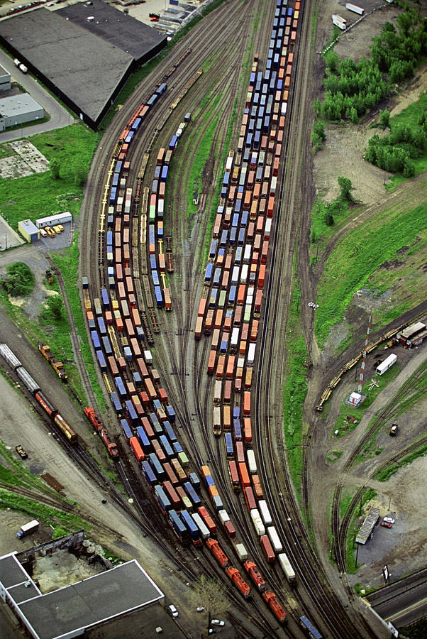 Aerial View Of Train Yard Photograph by Roderick Chen