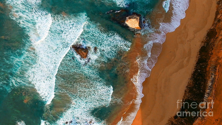 Cliff Photograph - Aerial View Of Twelve Apostles At Dawn by Pisaphotography