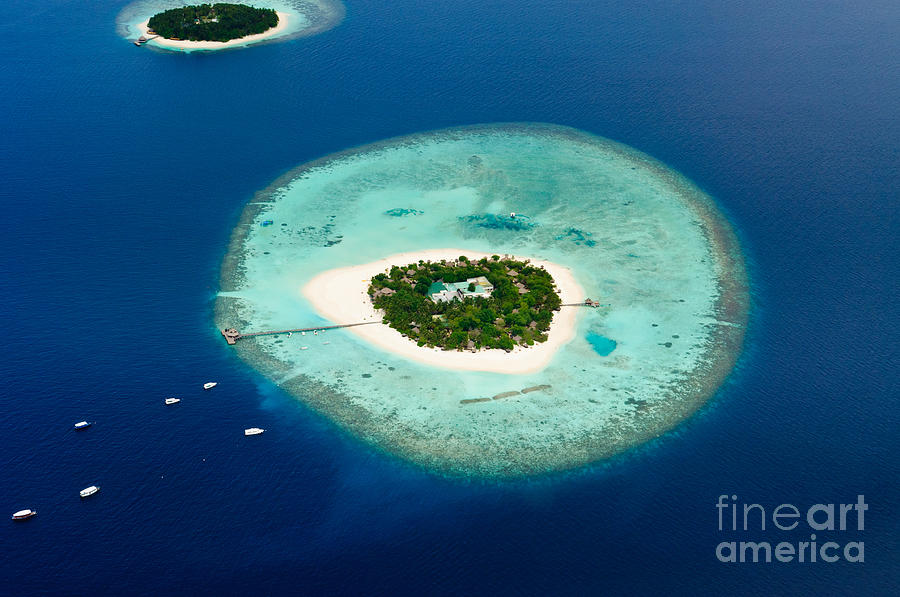 Beauty Photograph - Aerial View Of Two Maldive Islands And by Arttomcat