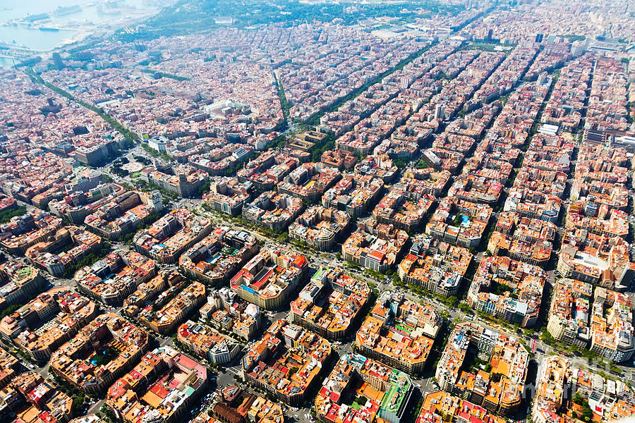 Spain Photograph - Aerial View Of Typical Houses At by Iakov Filimonov