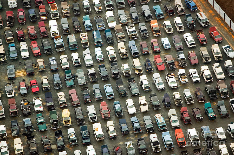 Waste Photograph - Aerial View Of Wrecked Cars In by Joseph Sohm