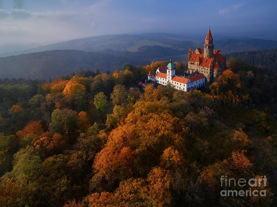 Magic Photograph - Aerial View On Romantic Fairy Castle by Martin Mecnarowski