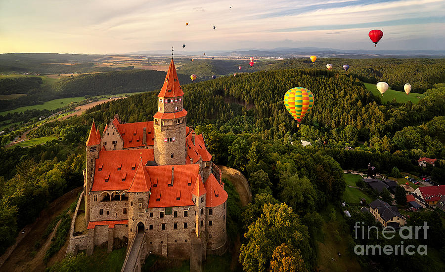 Magic Photograph - Aerial View On Romantic Fairy Castle by Martin Mecnarowski