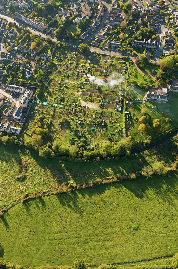 Aerial View Over Homes Gardens Summer Photograph by Fotovoyager
