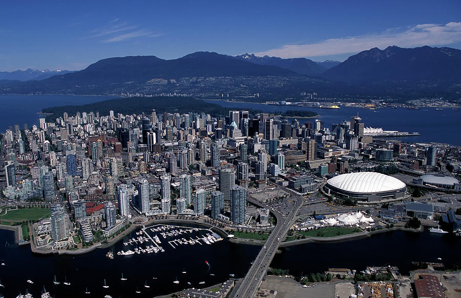 Aerial View Vancouver City Skyline Photograph by Laughingmango