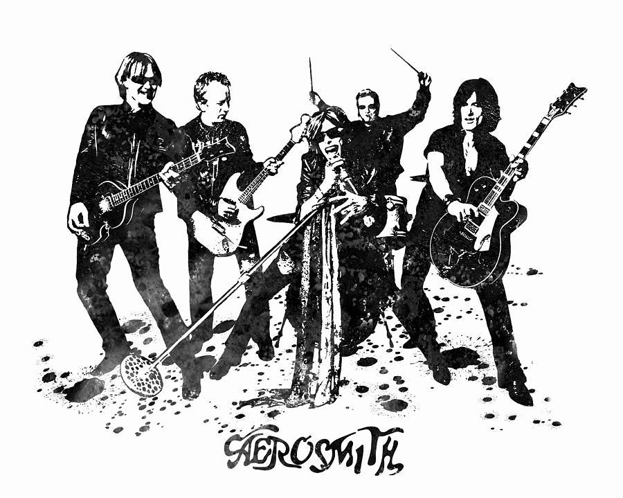Aerosmith Painting - Aerosmith Band Black and White Watercolor 02 by StockPhotosArt Com