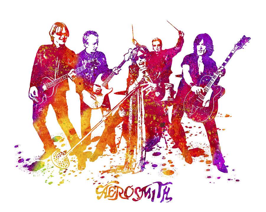 Aerosmith Painting - Aerosmith Band Watercolor Splatter 02 by StockPhotosArt Com
