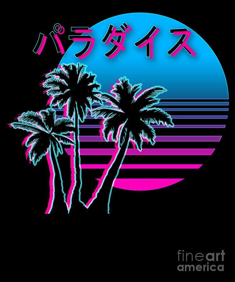 Aesthetic Vaporwave Sunset Beach Retro1980s 1990s Otaku Style Gift