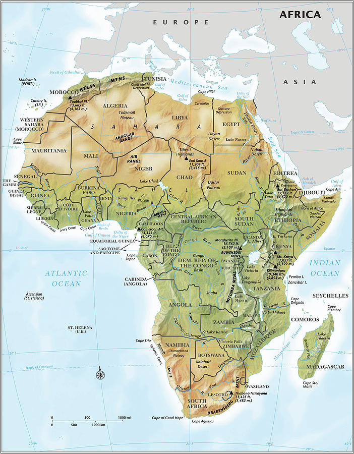 Africa Continent Map With Relief Digital Art by Globe Turner, Llc