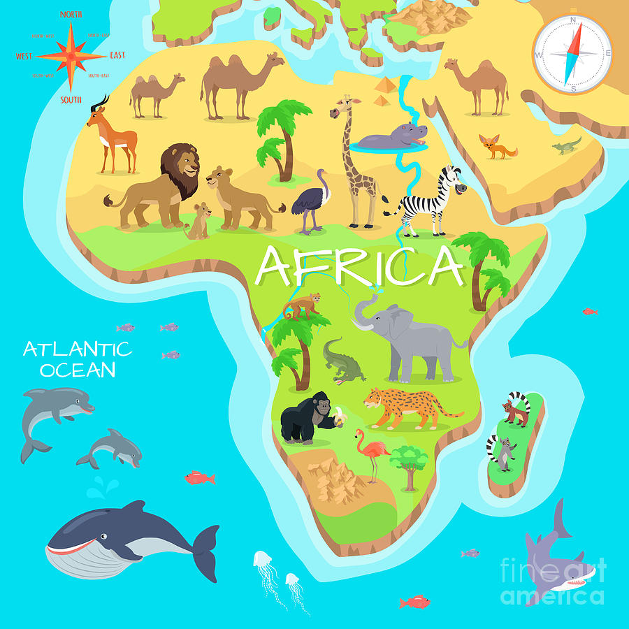 Habitat Digital Art - Africa Mainland Cartoon Map With Local by Robuart