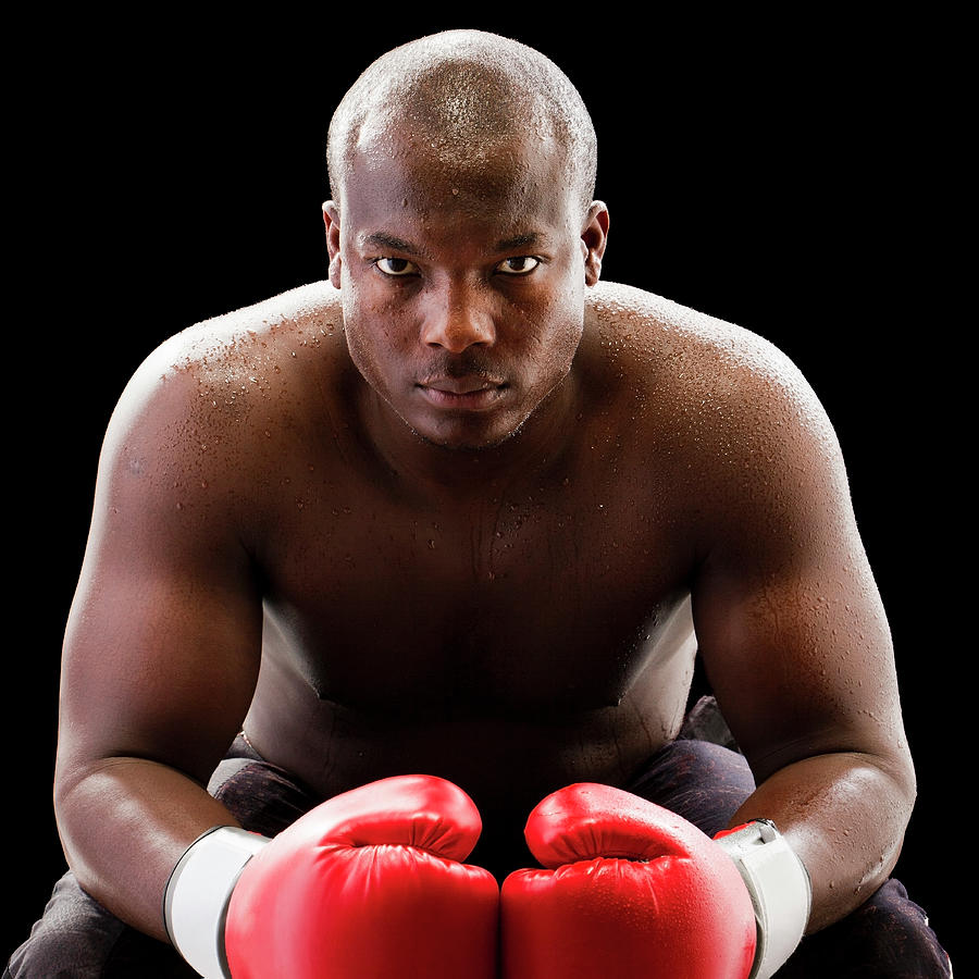 African American Boxer Wearing Boxing Photograph by Mike Kemp