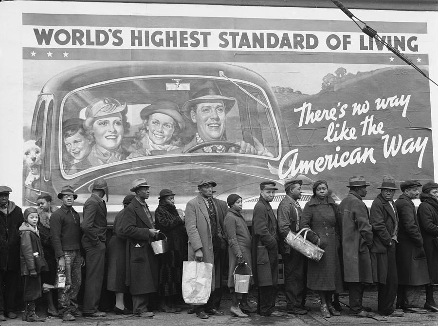African American Flood Victims Lined Up Photograph by Margaret Bourke-white