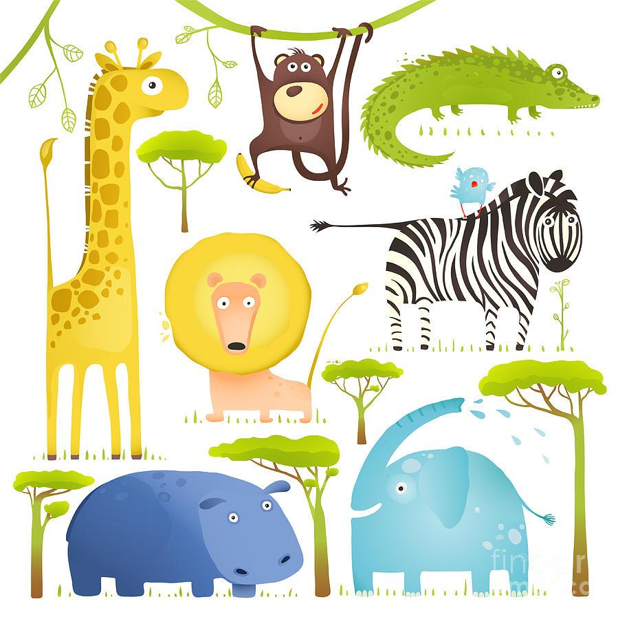 Forest Digital Art - African Animals Fun Cartoon Clip Art by Popmarleo