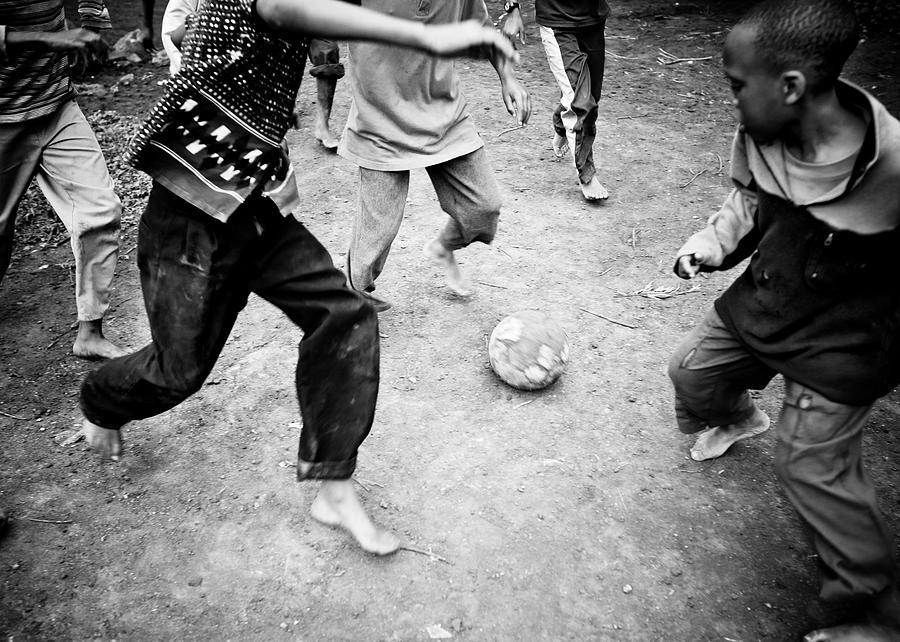 African Boys Playing Soccer Photograph by Ranplett