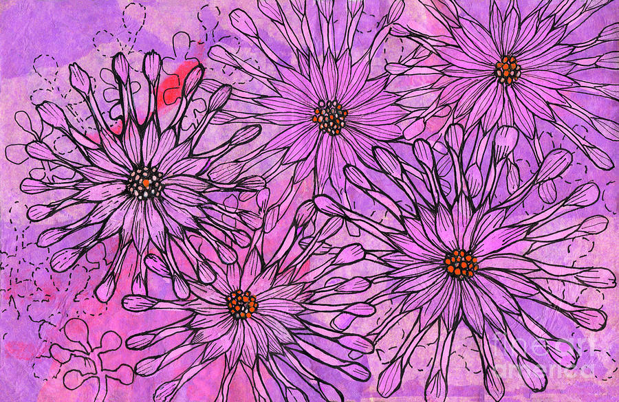 African Daisy, Cape Daisies, Pink Flowers, Floral Art by Julia Khoroshikh