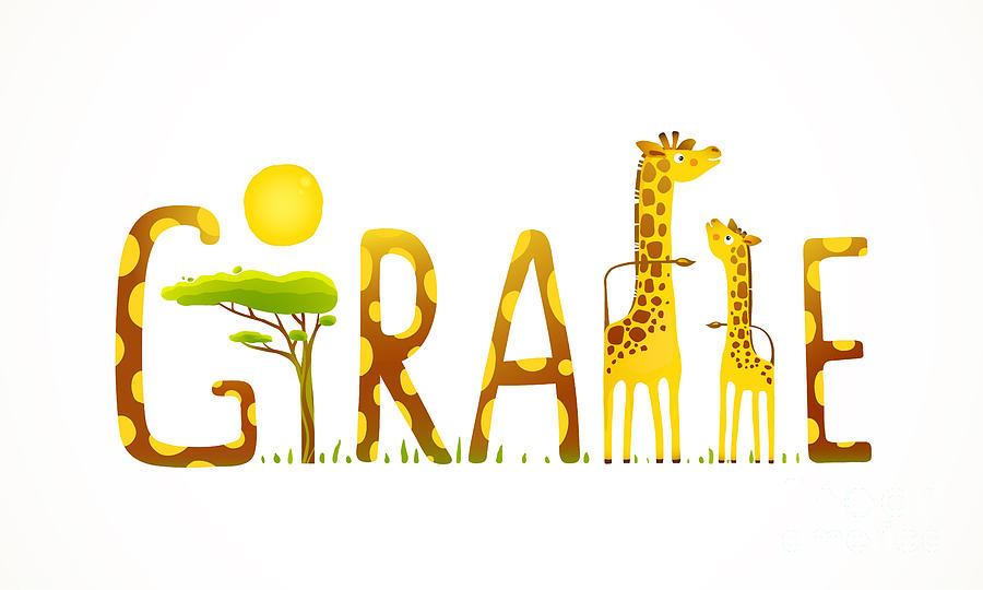 Parent Digital Art - African Giraffe Animals Fun Lettering by Popmarleo